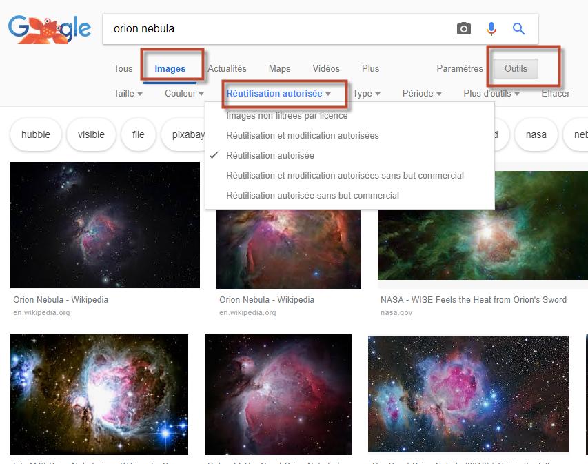 impression d'écran Google